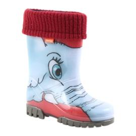 Demar buty dziecięce kalosze ze skarpetą niebieskie szare czerwone 1