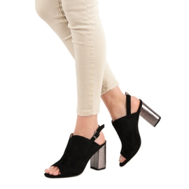 Zabudowane Sandały Na Słupku VINCEZA czarne 4
