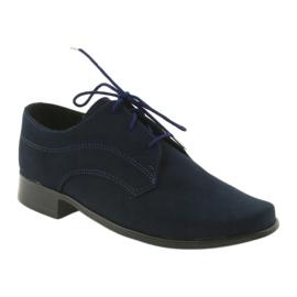 Miko półbuty dziecięce zamszowe buty komunijne granatowe 1
