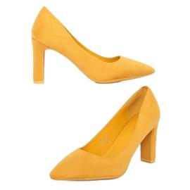 Czółenka na słupku żółte LE056P Yellow 6