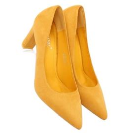 Czółenka na słupku żółte LE056P Yellow 7