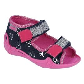 Befado obuwie dziecięce 242P089 różowe granatowe 1