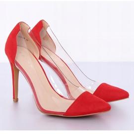 Szpilki transparentne czerwone 9003-56 Red 2