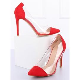 Szpilki transparentne czerwone 9003-56 Red 5