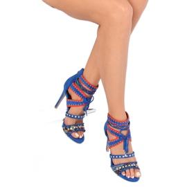 Sandałki gladiatorki niebieskie MT029 Blue 4