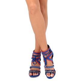 Sandałki gladiatorki niebieskie MT029 Blue 3