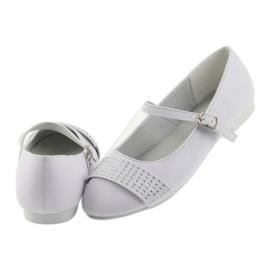 Czółenka buty dziecięce balerinki komunijne cyrkonie American Club 11/19 białe 5