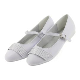 Czółenka buty dziecięce balerinki komunijne cyrkonie American Club 11/19 białe 4