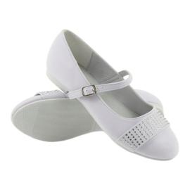 Czółenka buty dziecięce balerinki komunijne cyrkonie American Club 11/19 białe 3