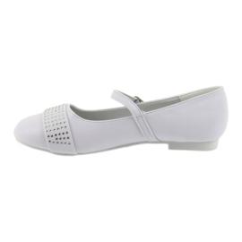 Czółenka buty dziecięce balerinki komunijne cyrkonie American Club 11/19 białe 2