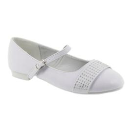 Czółenka buty dziecięce balerinki komunijne cyrkonie American Club 11/19 białe 1