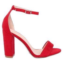 Sandałki na słupku czerwone Y2385-27 Red 3