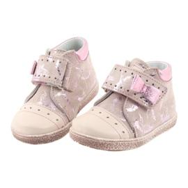 Trzewiki na rzepy buty dziecięce Ren But 1535 róż flamingi różowe 4