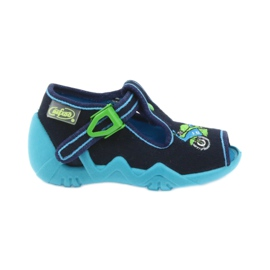 Befado obuwie dziecięce 217P095 zielone granatowe 1