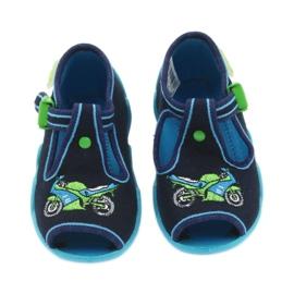 Befado obuwie dziecięce 217P095 zielone granatowe 4