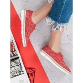 Kylie Ażurowe Półbuty Espadryle czerwone 7