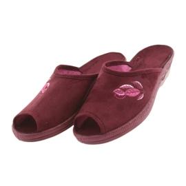 Befado kapcie buty damskie pu 581D193 klapki czerwone 3