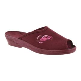 Befado kapcie buty damskie pu 581D193 klapki czerwone 1