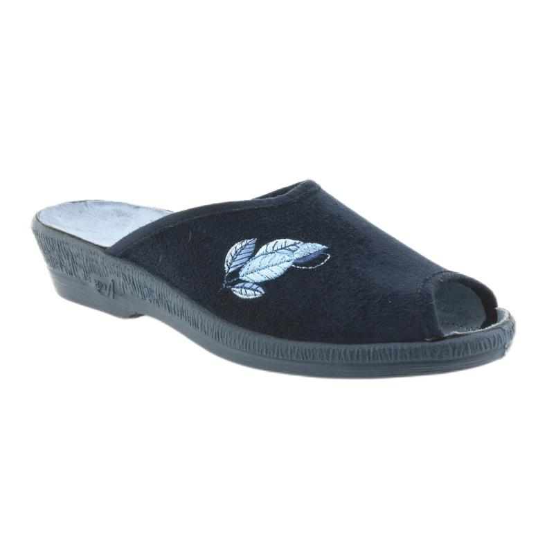 Granatowe Befado kapcie buty damskie pu 581D194 klapki zdjęcie 1