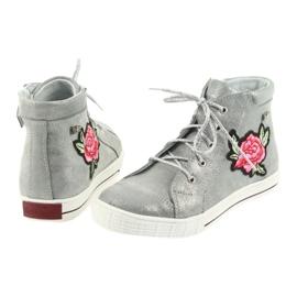 Trzewiki buty dziewczęce srebrne Ren But 4279 szare 5