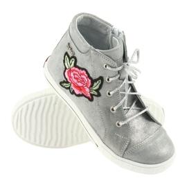 Trzewiki buty dziewczęce srebrne Ren But 4279 szare 3
