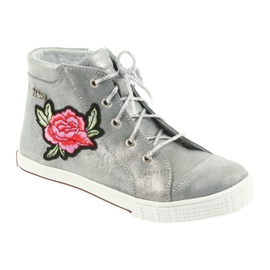 Trzewiki buty dziewczęce srebrne Ren But 4279 szare 1