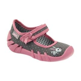 Befado obuwie dziecięce 109P168 szare różowe 3