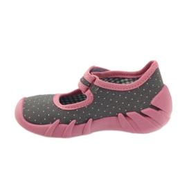 Befado obuwie dziecięce 109P168 szare różowe 4