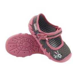 Befado obuwie dziecięce 109P168 szare różowe 5