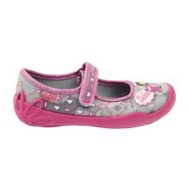 Befado obuwie dziecięce 114X305 szare różowe 1