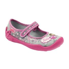 Befado obuwie dziecięce 114X305 szare różowe 2