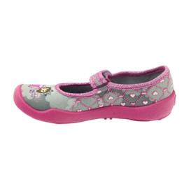 Befado obuwie dziecięce 114X305 szare różowe 3