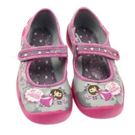 Befado obuwie dziecięce 114X305 szare różowe 4