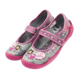 Befado obuwie dziecięce 114X305 szare różowe 5