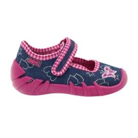 Befado obuwie dziecięce 109P164 niebieskie różowe 1