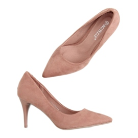 Szpilki zamszowe różowe 100-828ES-1 Pink 2