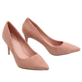 Szpilki zamszowe różowe 100-828ES-1 Pink 4