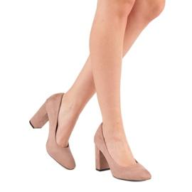 Sweet Shoes Zamszowe Czółenka Na Słupku różowe 4