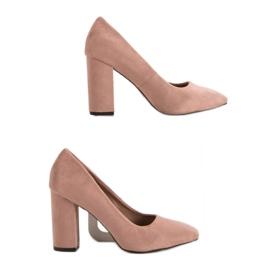 Sweet Shoes Zamszowe Czółenka Na Słupku różowe 2