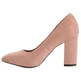 Sweet Shoes Zamszowe Czółenka Na Słupku różowe 1