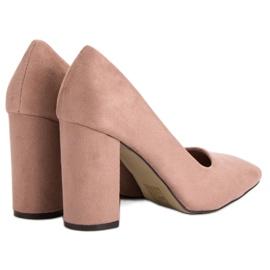 Sweet Shoes Zamszowe Czółenka Na Słupku różowe 3