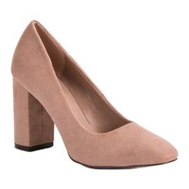 Sweet Shoes Zamszowe Czółenka Na Słupku różowe 5
