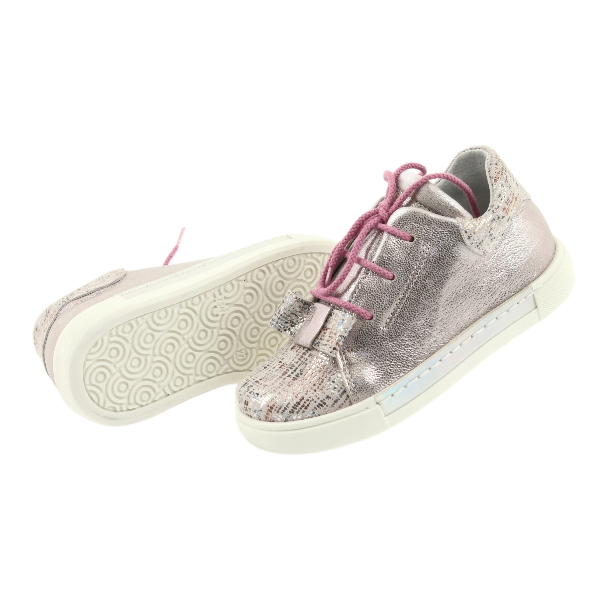 Buty skórzane sportowe Ren But 3303 perłowy róż różowe