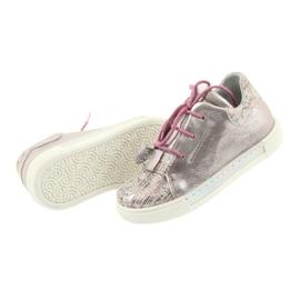 Buty skórzane sportowe Ren But 3303 perłowy róż różowe 5
