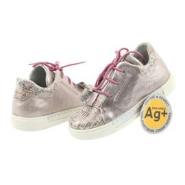 Buty skórzane sportowe Ren But 3303 perłowy róż różowe 4