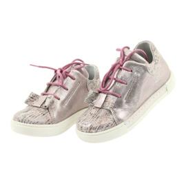 Buty skórzane sportowe Ren But 3303 perłowy róż różowe 3
