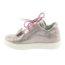 Buty skórzane sportowe Ren But 3303 perłowy róż różowe 2