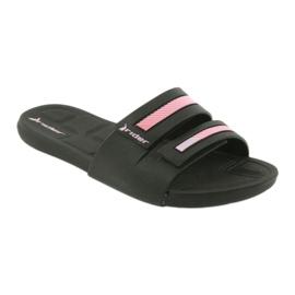 Klapki rekreacyjne buty damskie basenowe Rider 82503 czarne różowe 1