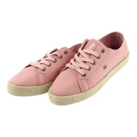 Balerinki espadryle buty damskie różowe Big star 274425 4