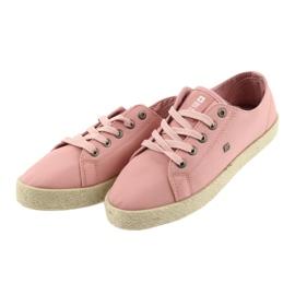 Balerinki espadryle buty damskie różowe Big star 274425 3